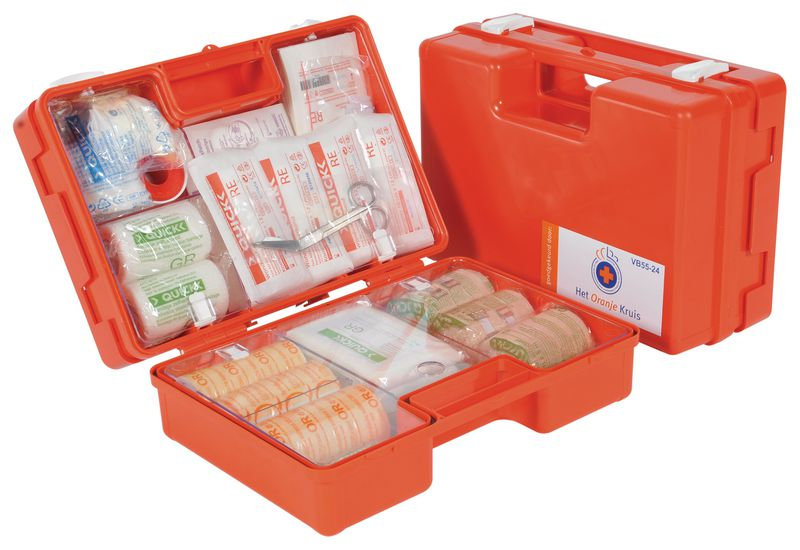 Verbanddoos volgens richtlijn Oranje Kruis