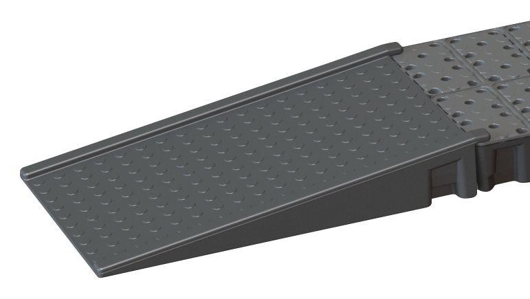 Laadbrug om overgang te maken van vloer naar opvangbak