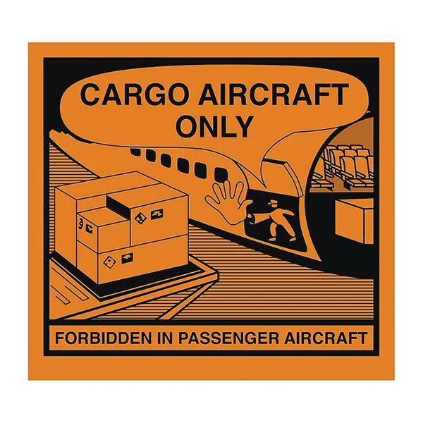 Etiket met opschrift: 'Danger. Do not load in passenger aircraft'