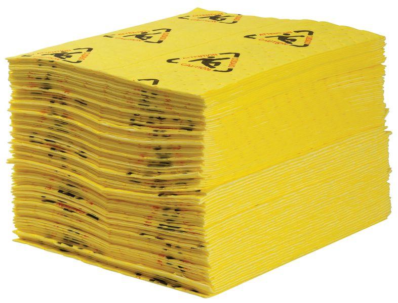 Opvallend gele absorptiedoeken, met waarschuwingspictogram