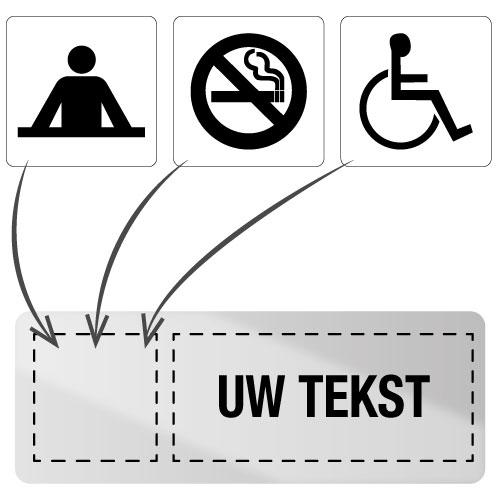 Personaliseerbaar en zelfklevend informatiebord van inox