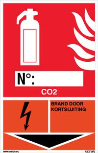 Identificatiebord brandblusser - CO2, brand door kortsluiting