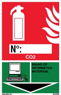 Identificatiebord brandblusser - CO2, brand op informatica materiaal