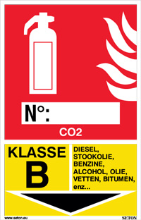 Identificatiebord brandblusser - CO2, klasse B