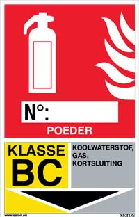 Identificatiebord brandblusser - Poeder, klasse BC