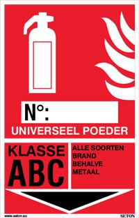Identificatiebord brandblusser - Universeel poeder, klasse ABC