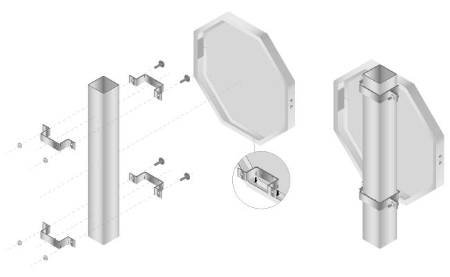 Schema voor de montage van een verkeersbord op een vierkante paal