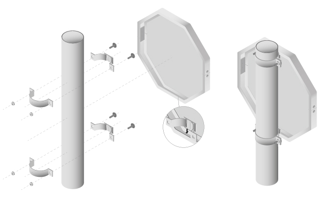 Schema voor de montage van een verkeersbord op een ronde paal