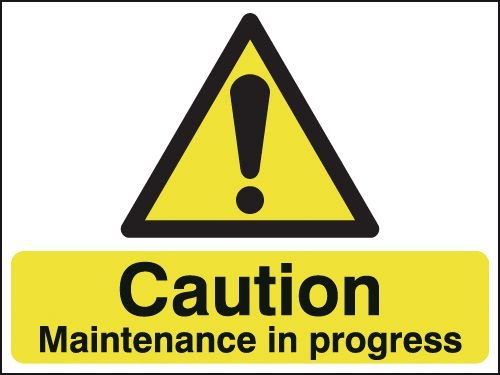 Caution Maintenance In Progress Two-Sided Hanging Sign