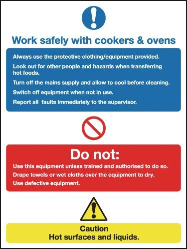 Work Safely with Cookers/Ovens Multi-Message Signs