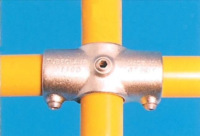 Modular Barrier - Two Socket Cross with Centre Vertical Tube Galvanised Clamp