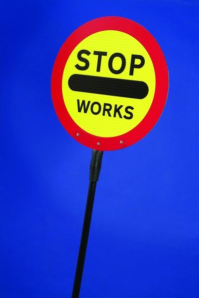 STOP Works Lollipop Traffic Sign