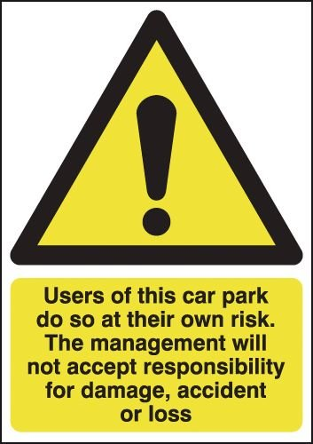 Car Park Risk/Responsibility For Damage Signs