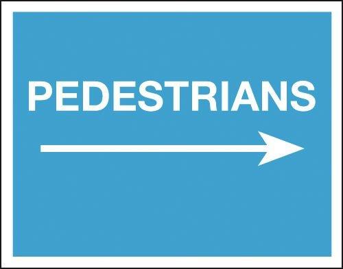 Pedestrians (Arrow Right) - Class 1 Reflective Sign