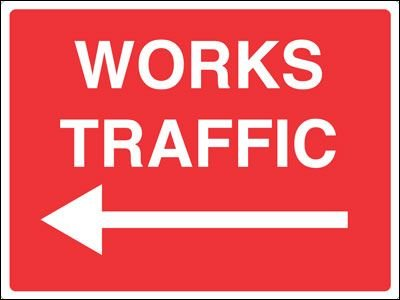 Construction Site Signs - Works Traffic Arrow Left