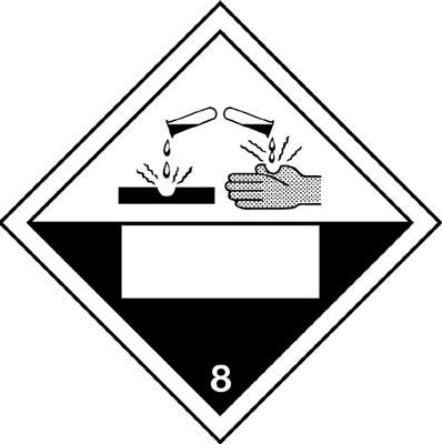 Corrosive & 8 - Hazard Warning Diamond Placards