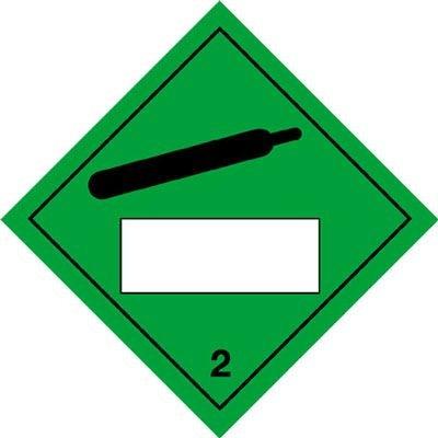 Compressed Gas & 2 - Hazard Warning Diamond Placards
