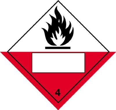 Spontaneously Combustible/4 Hazard Warning Placards