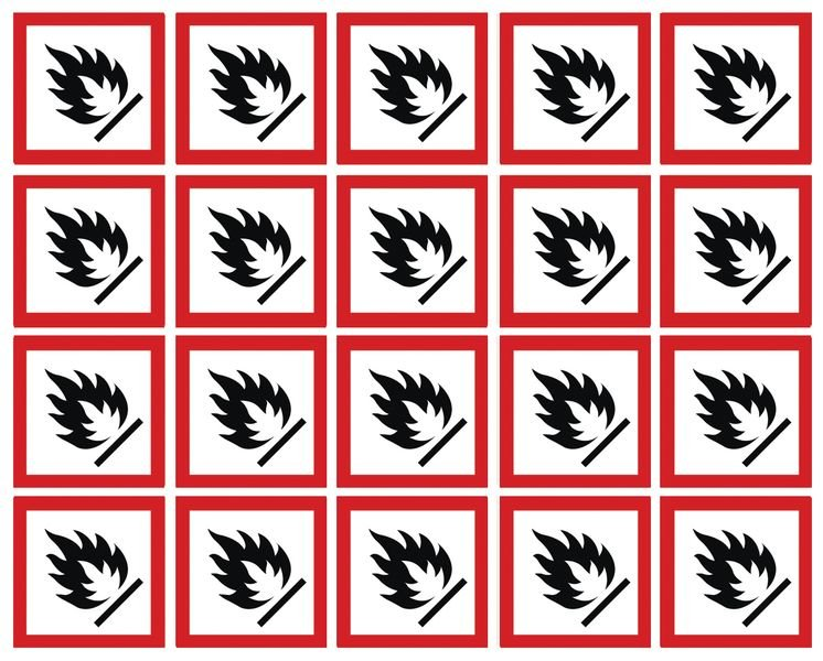 GHS Symbols On-a-Sheet - Flammable