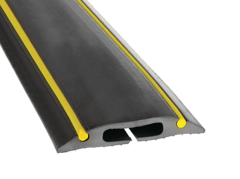 Rubber Cable Protector with Warning Stripes