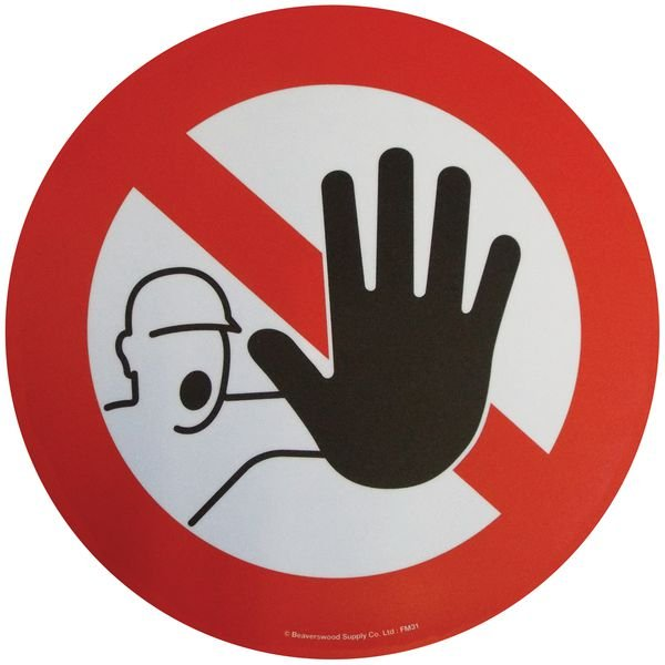 Floor Graphic Markers - Stop/Man with Hand Symbol