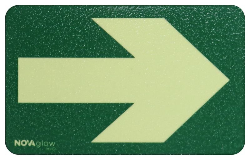 Photoluminescent Rectangle Floor Markers with Arrow