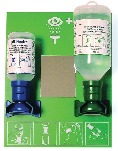Saline & Neutral Eye Wash Station with Mirror
