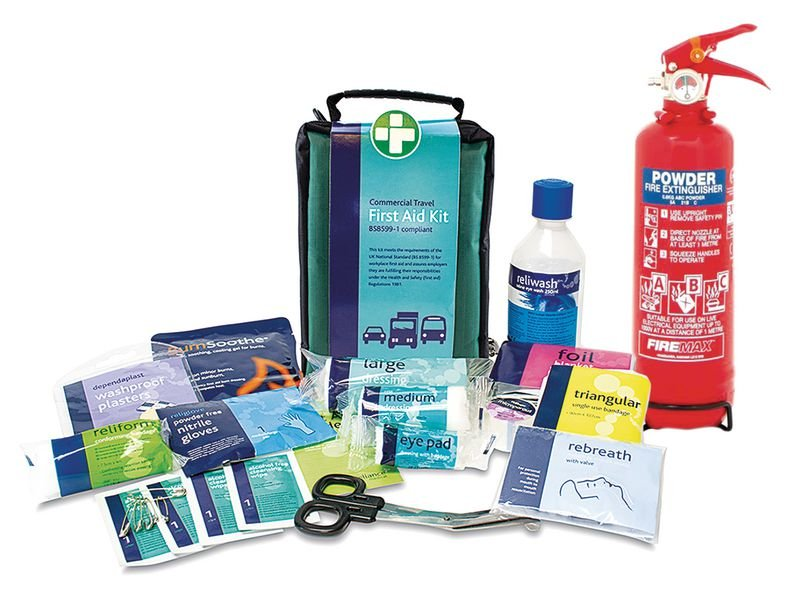 ABC Powder Fire Extinguisher and Travel First Aid Kit