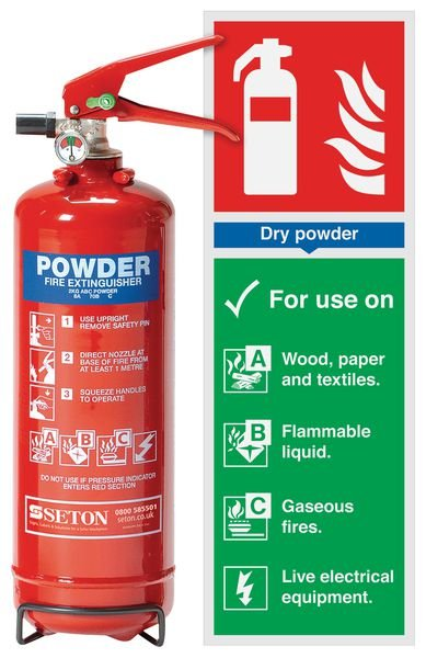 ABC Powder Extinguisher & Instruction Sign Bundle