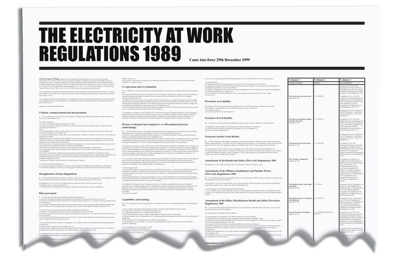 Electricity At Work - Workplace Regulation Wallchart