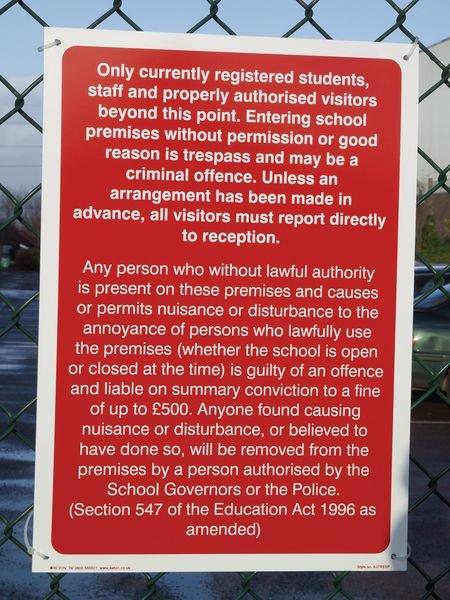 School Trespass Signs