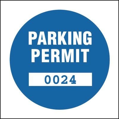 Parking Permit (Custom Numbering) Window Parking Labels