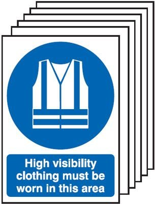Hi Vis Clothing Must Be Worn In This Area 6-Pack Signs