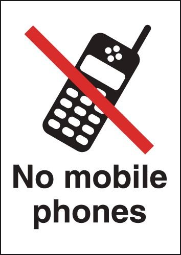 Metal Look Signs - No Mobile Phone