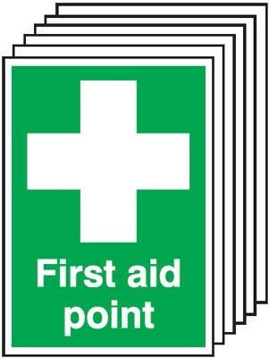6-Pack First Aid Point Signs