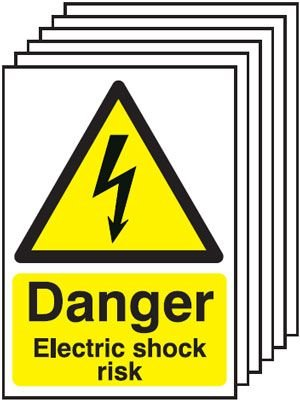 6-Pack Danger Electric Shock Risk Signs