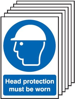 6-Pack Head Protection Must Be Worn Signs