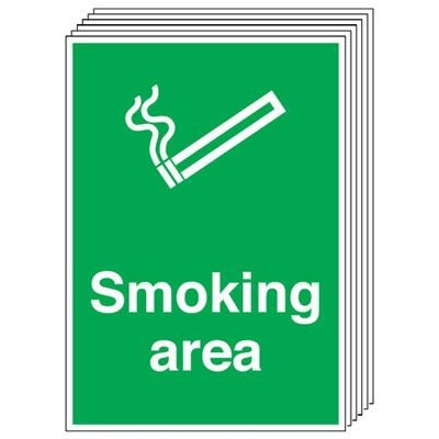 6-Pack Smoking Area Signs