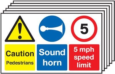 6-Pack Caution Pedestrians/Sound Horn/5mph Multi-Signs