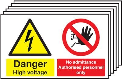 6-Pack Danger High Voltage/No Admittance Signs