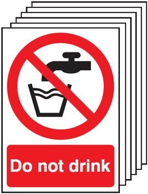 6-Pack Do Not Drink Signs