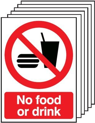 6-Pack No Food Or Drink Signs