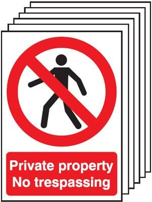 6-Pack Private Property No Trespassing Signs