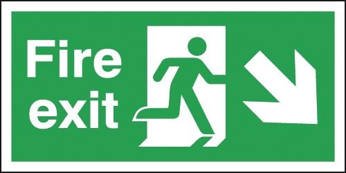 Fire Exit Running Man Right & Diagonal Arrow Down Signs