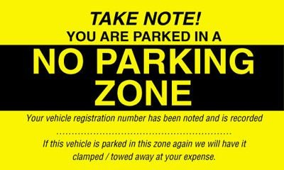 Parking Control Window Labels - No Parking Zone