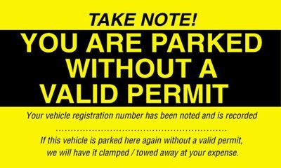 Parked Without A Valid Permit - Parking Window Labels
