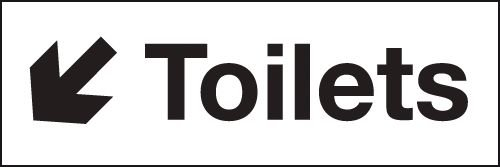 Toilets Down Left Arrow Washroom Signs