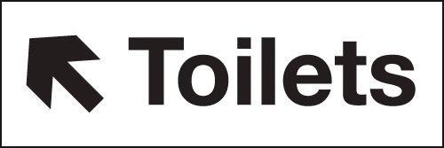 Toilets Up Left Arrow Washroom Signs