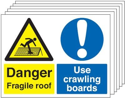 Fragile Roof/Crawling Boards 6-Pack Multi-Message Signs