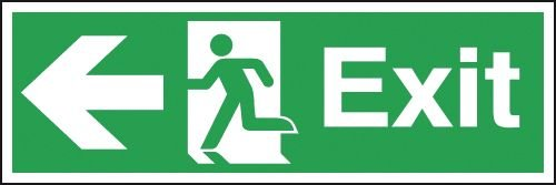 Exit Running Man and Arrow Left Signs